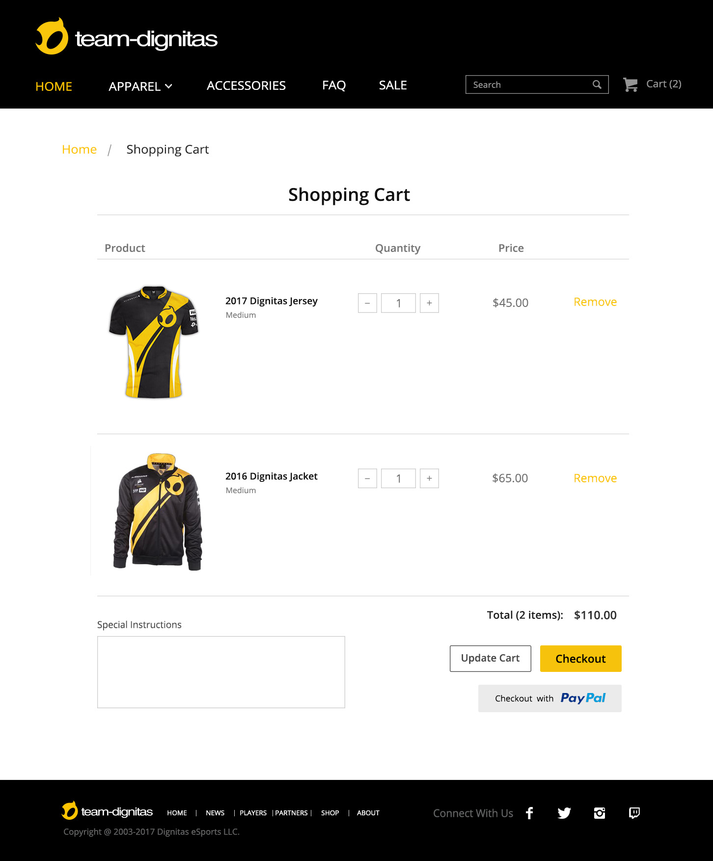 Dignitas Website_V2_Store_Shopping Cart
